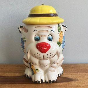 Vintage Cookie Jar Tiger Puppy Dog BRAZIL Ceramic